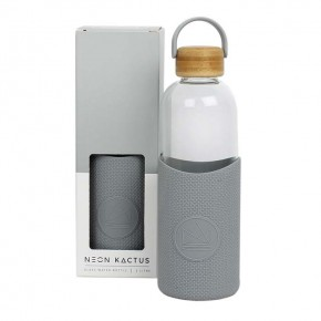 Glass Water Bottle - Forever Young - Grey - 1L