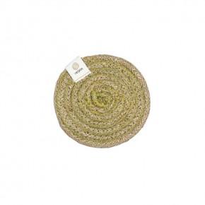 Round Spiral Jute Coaster - Natural/Green