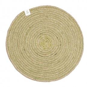 Round Spiral Jute Tablemat - Natural/Green