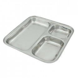 Square Stainless Steel Divided Plate - 25cm