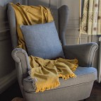 Zig Zag Square Wool Cushion Cover - Denim - In Use (Classic)