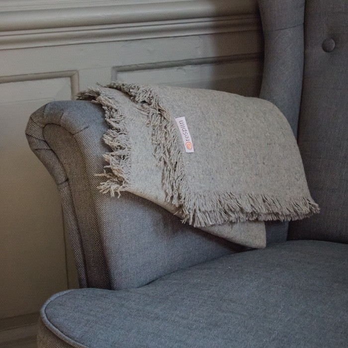Plain Wool Throw with Fringe - Light Grey - In Use (Classic)