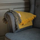 Zig Zag Wool Throw with Fringe - Saffron - In Use (Classic)