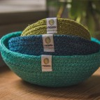 Jute Mini Bowl Set - Ocean - In Use