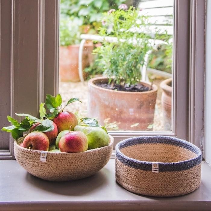 Shallow Jute Basket - Medium - Natural/Grey - in Use