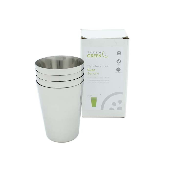 Stainless Steel Cups - Set of 4 - in packaging