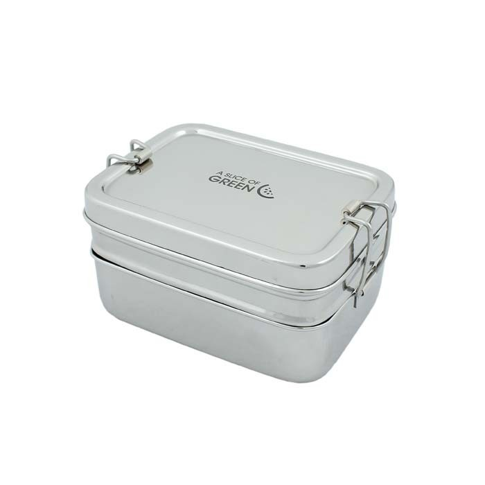 Two Tier Rectangle Lunch Box with Mini Container