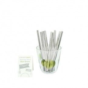 Stainless Steel Short Straws - Bulk Pack of 20