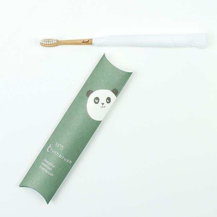 Tiny Truthbrush - Cloud White - Soft Caster Oil Bristles - in packaging