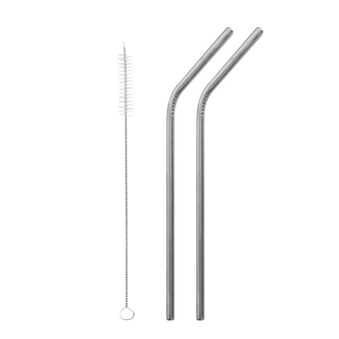 Stainless Steel Bent Straws - Brushed Steel - Set of 2 + Brush