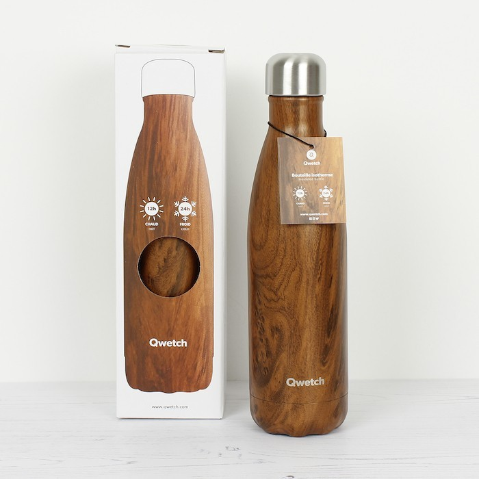 Insulated Stainless Steel Bottle - Wood - 500ml with box