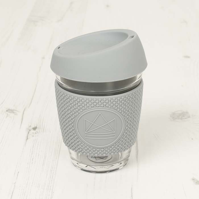 Glass Cup - Forever Young - Grey - 12oz/340ml