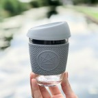 Glass Cup - Forever Young - Grey - 12oz/340ml - in Use