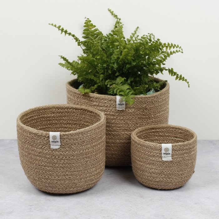 Tall Jute Basket Set - Natural - in Use
