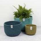 Tall Jute Basket Set - Ocean - in Use