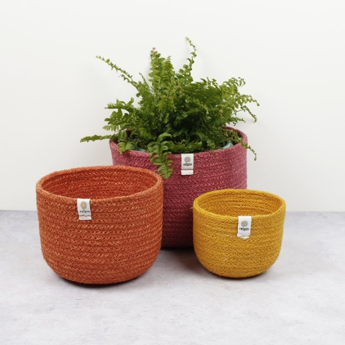 Tall Jute Basket Set - Fire - in Use