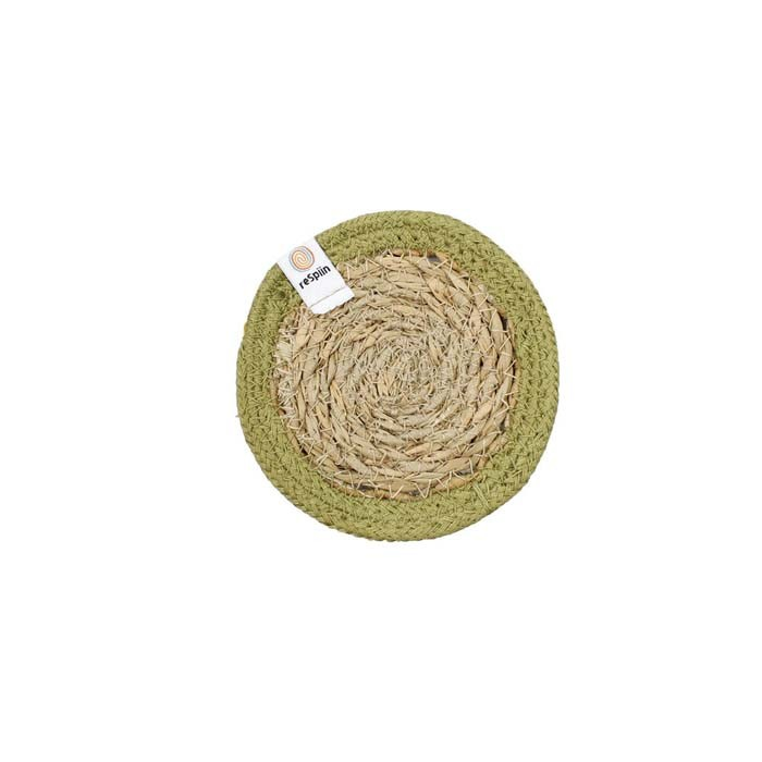 Round Seagrass & Jute Coaster - Natural/Green