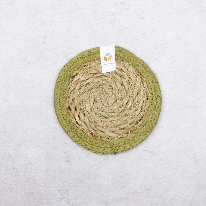 Round Seagrass & Jute Coaster - Natural/Green - Back View