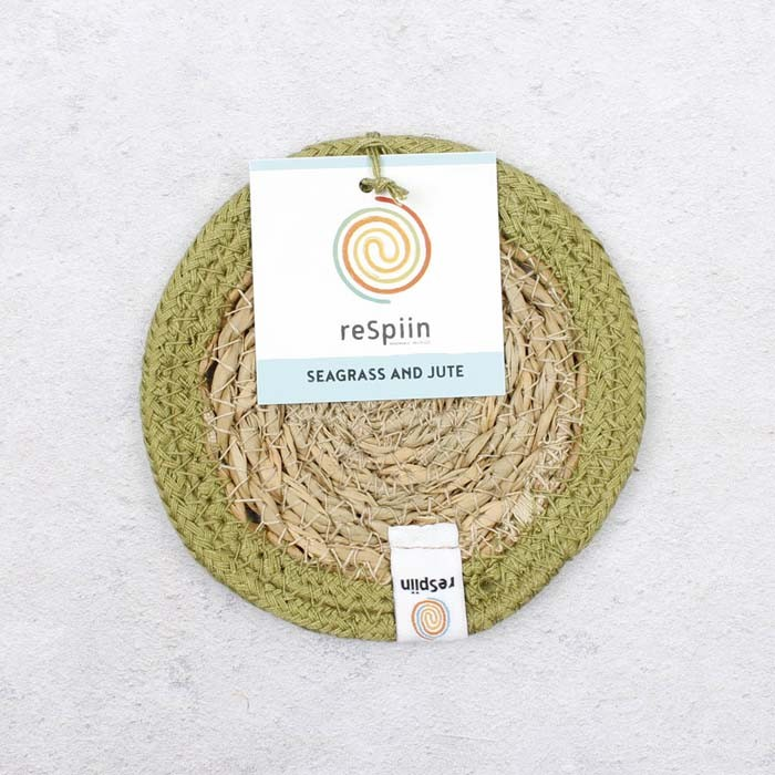 Round Seagrass & Jute Coaster - Natural/Green - with packaging