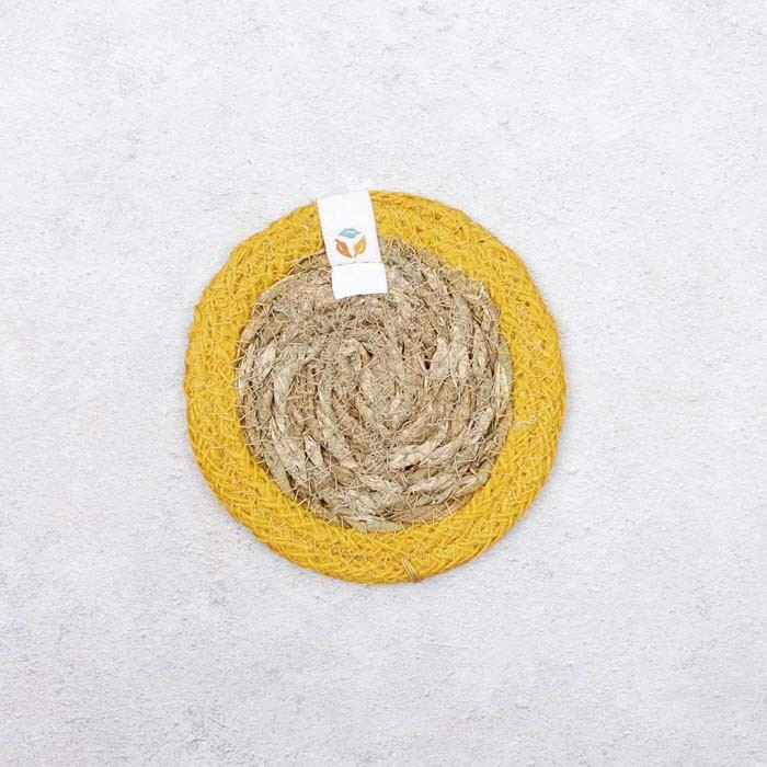 Round Seagrass & Jute Coaster - Natural/Yellow - Back View