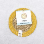 Round Seagrass & Jute Coaster - Natural/Yellow - with packaging