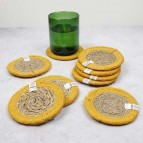 Round Seagrass & Jute Coaster - Natural/Yellow - in Use
