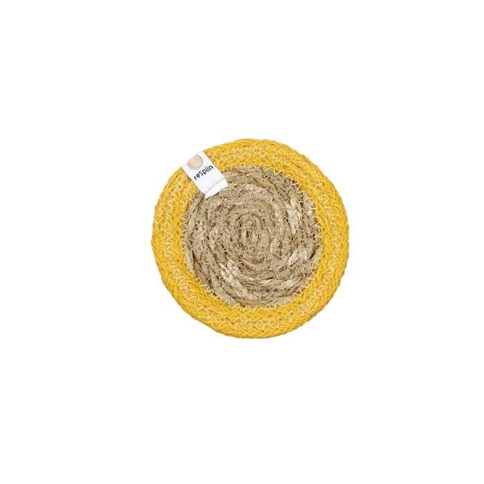 Round Seagrass & Jute Coaster - Natural/Yellow