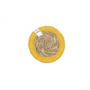 Round Seagrass & Jute Coaster - Natural/Yellow