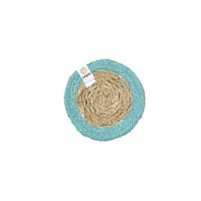 Round Seagrass & Jute Coaster - Natural/Turquoise