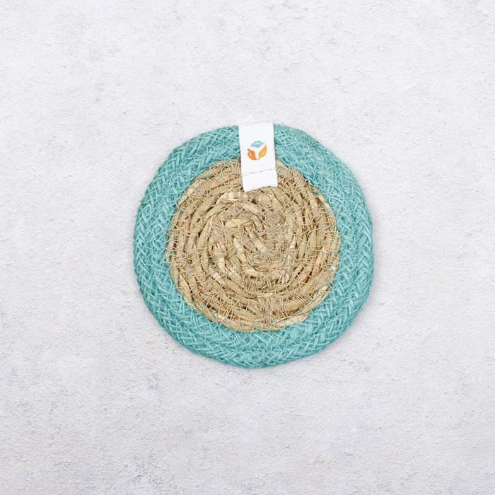 Round Seagrass & Jute Coaster - Natural/Turquoise - Back View