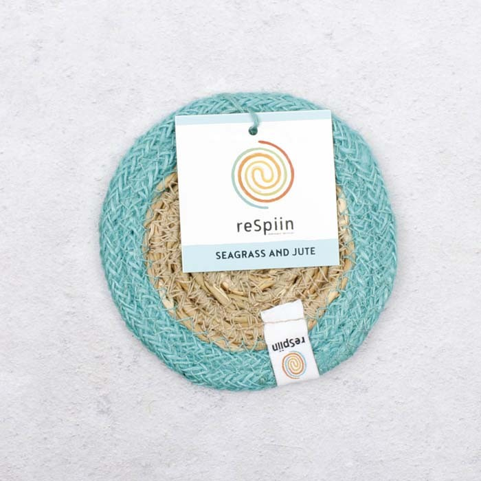 Round Seagrass & Jute Coaster - Natural/Turquoise - with packaging
