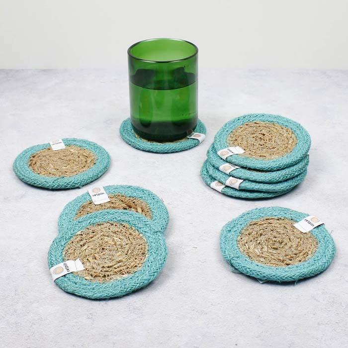 Round Seagrass & Jute Coaster - Natural/Turquoise - in Use