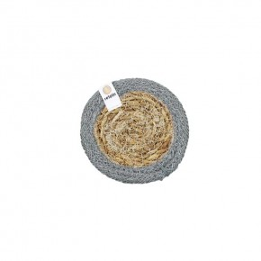 Round Seagrass & Jute Coaster - Natural/Grey