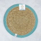 Round Seagrass & Jute Tablemat - Natural/Turquoise - with packaging