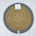 Round Seagrass & Jute Tablemat - Natural/Grey - with packaging