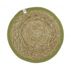 Round Seagrass & Jute Tablemat - Natural/Green