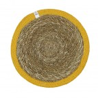 Round Seagrass & Jute Tablemat - Natural/Yellow