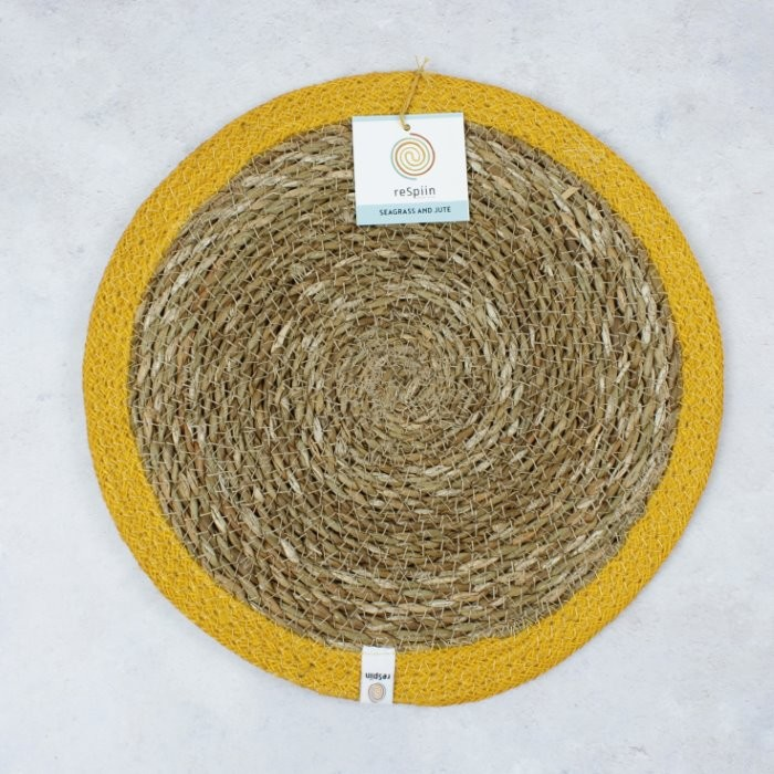 Round Seagrass & Jute Tablemat - Natural/Yellow - with packaging