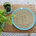 Round Seagrass & Jute Tablemat and Coaster - Natural/Turquoise - in Use
