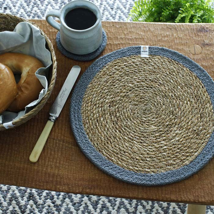 Round Seagrass & Jute Tablemat and Coaster - Natural/Grey - in Use