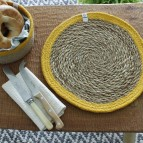 Round Seagrass & Jute Tablemat and Coaster - Natural/Yellow - in Use
