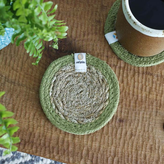 Round Seagrass & Jute Coasters - Natural/Green - in Use