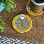 Round Seagrass & Jute Coasters - Natural/Yellow - in Use