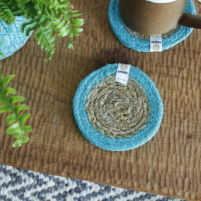 Round Seagrass & Jute Coasters - Natural/Turquoise - in Use
