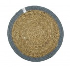 Round Seagrass & Jute Tablemat - Natural/Grey
