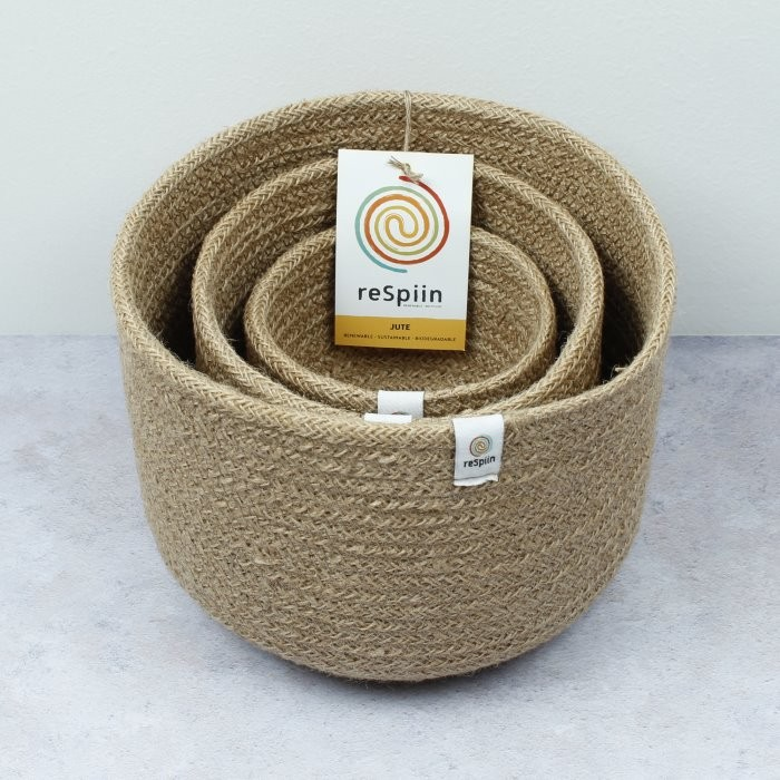 Tall Jute Basket Set - Natural - with packaging