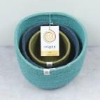 Tall Jute Basket Set -  Ocean - with packaging