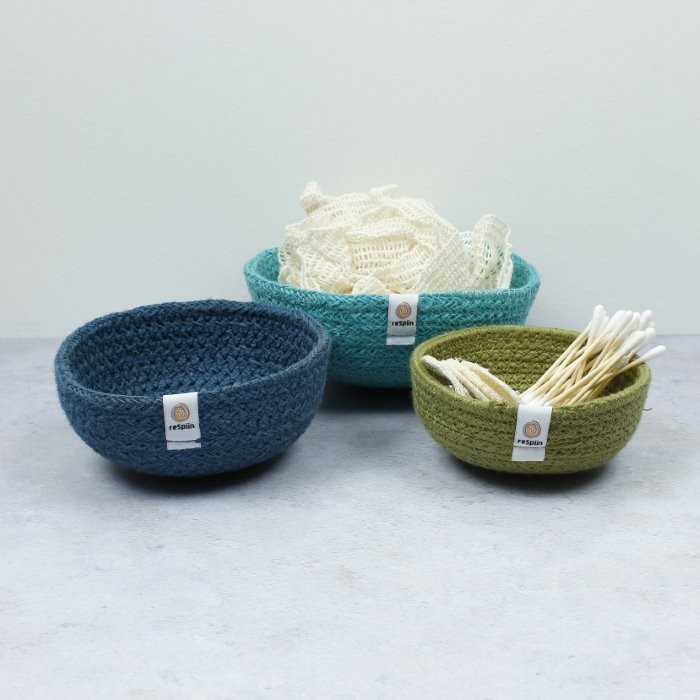Jute Mini Bowl Set - Ocean - with jute rope and thread