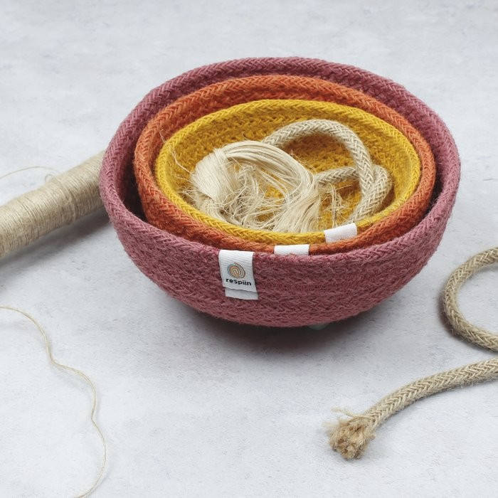 Jute Mini Bowl Set - Fire - with jute rope and thread