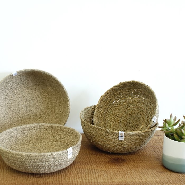 Seagrass & Jute Bowls - Medium & Large - Natural